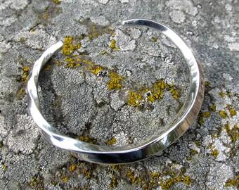 Sterling Silver Cuff Bracelet, Asymmetrical Twist, Forged