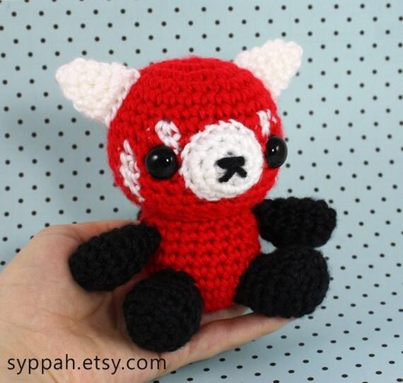 Amigurumi Free Patterns Pokemon : Red Panda Amigurumi Crochet Plushie MADE TO ORDER
