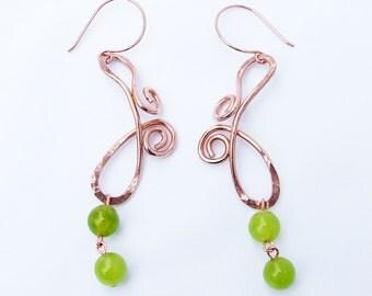 Green Copper Earrings, Modern butterfly wing