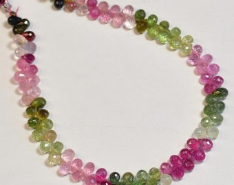 Green Pink Blue Pastel Tourmaline Teardrop Briolette Bead 8 inch Strand