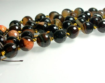 9pc 14mm Faceted Dream Agate Round Bead Strand Glossy Brown Rust Black Salmon Jewelry Jewellery Craft Supplies