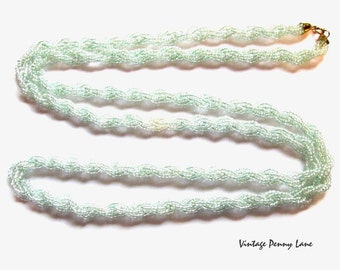 Vintage Glass Bead Necklace, Pale Green