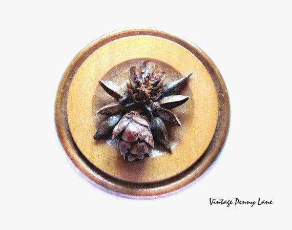Vintage Wood Brooch, Handmade Pin