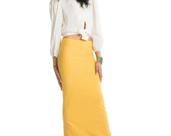 Pretty Birdie's Hemp and Organic Cotton Stretch Jersey Fitted Maxi Skirt