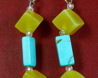 Number 917. Yellow Agate and Turquoise Random Bead Earrings