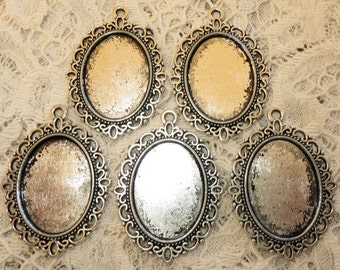 """5 Antique Silver Filigree Oval Blank Bezel Setting 1-3/8"""" Pendant Trays for Resin or Cabochons"""
