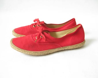 Vintage 80s Red Grasshoppers Canvas Lace Up Sneakers. Size 7