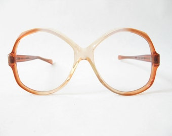 Vintage 80s Ombre Amber Large Round Frames