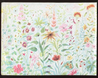 Scrapbook Papers, Vintage Paper Ephemera, Two Vintage 1940's Garden Flowers Pattern End Papers from Vintage Book, Journal Papers, Scrapbook