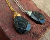 Wire Wrapped Kambaba Jasper Flat Faceted Briolette Necklace in Silver or Gold