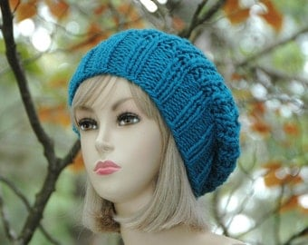 Turquoise Blue Knit Slouchy Beanie, Knit Slouchy Hat, Oversized Beanie, Chunky Hand Knit Women's Winter Hat, Reversible Slouchy Hat,Blue Hat