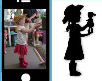 Custom Silhouette portrait : (left & right of one child) from pictures (Full figure poses)