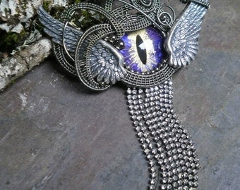 Gothic Steampunk Purple Eye Wings Pin Pendant