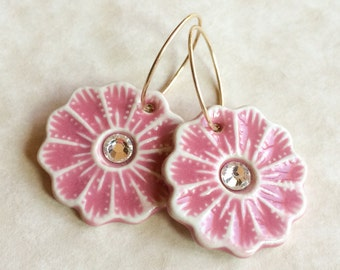 Pink Daisy with Crystal Porcelain Earrings