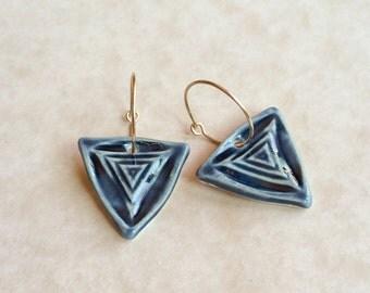 Blue Triangle Porcelain Earrings, Blue Ceramic Earrings, Porcelain Earrings, Blue Porcelain, Triangle Earrings, Gold Filled Hoops, Handmade