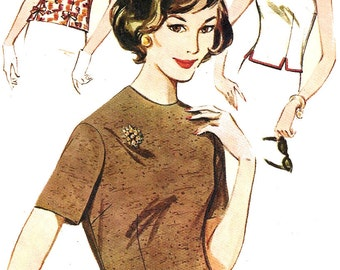 1960s Blouse Pattern Top Overblouse Butterick Vintage Sewing Women's Misses Size 14 Bust 34 Inches