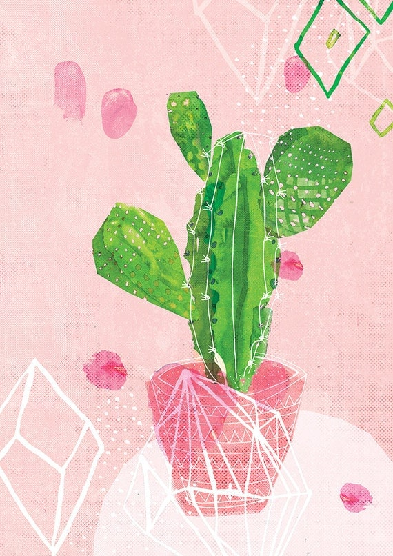 Pastel Cactus Wall Art Print Pink and Green