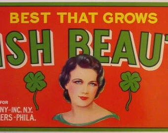 Irish Beauty Fruit Crate Label - Shamrocks