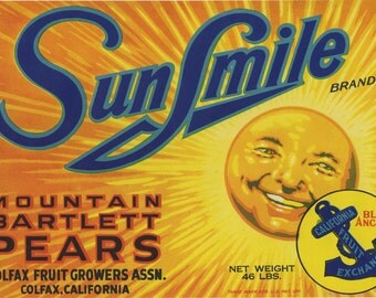 Sunsmile Pear crate label Colfax California