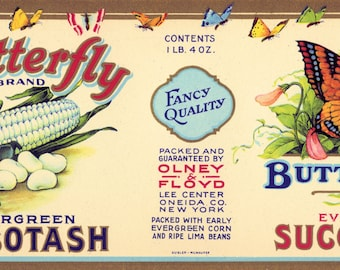 Butterfly Evergreen Succotash Vintage Cannery Label