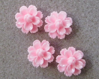 Small Pink Resin Carnation Flower Cabochons 14mm 937