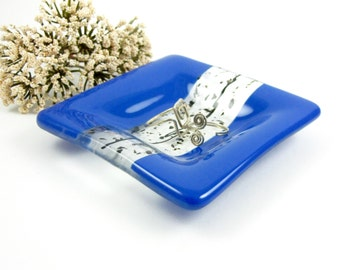 Mini Blue Glass Ring Dish, Small Glass Dish, Blue, Black and Clear Glass Pinch Dish