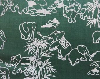 Green Elephants - Hand Printed cotton fabric RARE - Half Yard