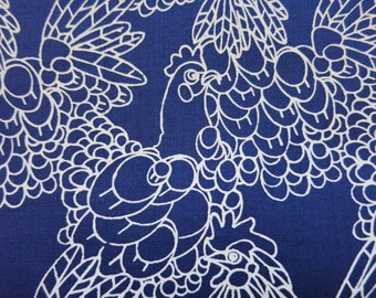 Hand printed cotton fabric - Navy Blue chicken doodles - Rare