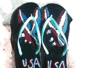 Ladies Size XL Seafoam Green Flip Flops with Hand Painted Red White and Blue Striped USA Eagle Free Shipping Patriotic Summer Sandale