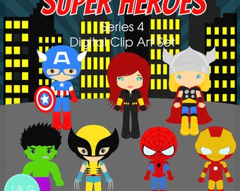 Super Heroes clipart Series 4 Digital Clipart, clip art collection ***2 options available***
