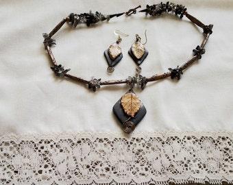Polymer clay gemstone jewelry set