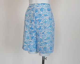 60s Shorts / Animal Cracker Vintage Baby Blue 1960s High Waisted Shorts