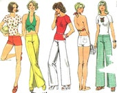 Vintage 1974 Misses Hip-Hugger Pants or Shorts, Pullover Top and Halter Top Size 8 Simplicity 6354 Sewing Pattern 1970s 70s