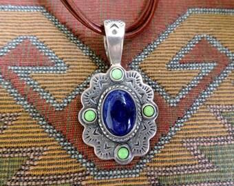 Vintage Southwestern Sterling Silver Pendant Lapis Lazuli  Turquoise