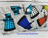 Sale - Handmade vegan Long fandom geek Wallet  BiFold Clutch - Daleks EXTERMINATE ON GRAY #2- dr who wallet