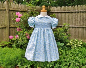 Hand smocked toddler girl dress, blue & green flower petals, size 2/2T, white collar, ready to ship, party dress, heirloom, classic, OOAK
