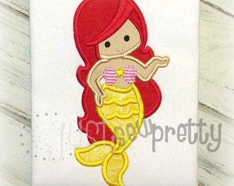 Sweet Mermaid Princess Embroidery Applique Design
