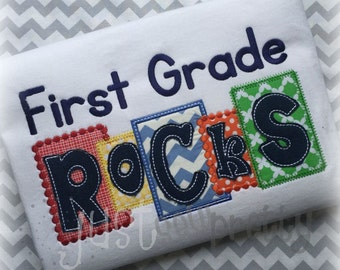 1st Grade Rocks Blocks Embroidery Applique Design