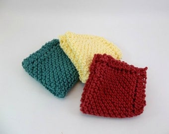 Knit Cotton Cloths Country Red Teal and Yellow Cotton Wash Dish Cloths Set of 3