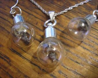 """METEORITE Earrings & 18"""" Necklace Set, Sterling Silver, for pierced ears, HANDMADE / NEW!"""