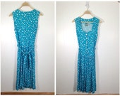 Vintage 90s Turquoise and White Polka Dots Sundress