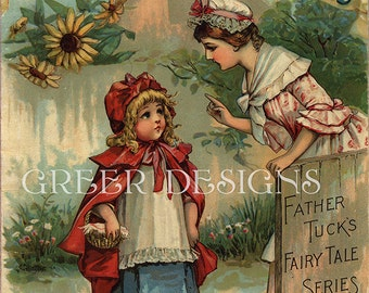 Antique Children's Book Cover Print Little Red Riding Hood Instant Digital Download Printable