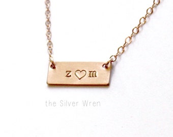 Mini Bar Necklace, Initial Necklace, Silver, Rose or Gold Necklace, Personalized Jewelry, Personalized Necklace, Dainty Jewelry, Initial Bar