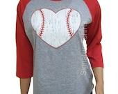 Baseball. Baseball shirt. Baseball Raglan. Baseball womens t-shirt Vintage baseball heart 3/4 sleeve graphic tshirt game sport tee shirt