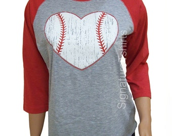Baseball. Baseball shirt. Baseball Raglan. Baseball womens t-shirt Vintage baseball heart 3/4 sleeve graphic tshirt game sport tee shirt