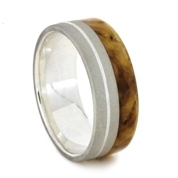 black ash burl wood ring sterling silver wedding by