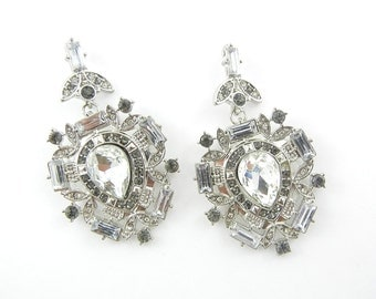 Pair of Crystal and Gray Rhinestone Drop Charms
