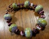 Chartreuse Lavender Lampwork Glass Bracelet, Spiny Oyster, Swarovski Crystal