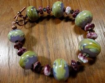Glass Bracelet, Chartreuse Lavender Lampwork, Spiny Oyster, Swarovski Crystal