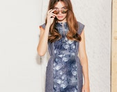 Dress women chambray cotton with African fabric middle part Discounted price 30% off
